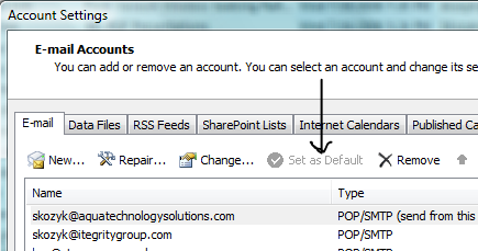 Outlook Default Email Setting