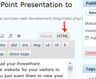 WordPress HTML VIew