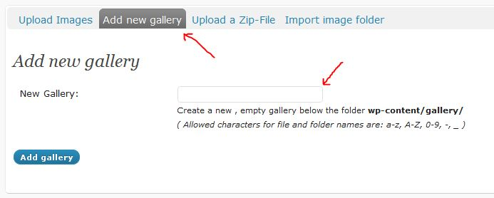 NextGEN Gallery Add a New Gallery