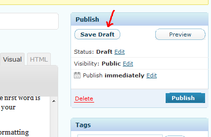 WordPress Save Draft